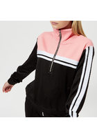 Juicy Couture Women's Stripe Tricot Half Zip Track Jacket - Pitch Black And Sorbet Pink - Xs - Black
