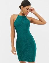 Vestido Midi De Encaje En Verde Esmeralda De Paper Dolls