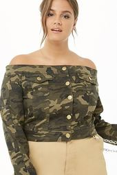 Plus Size Camo Off-the-shoulder Denim Jacket