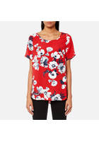 Joules Women's Hannah Printed Woven Shell Top - Red Posy - Uk 8 - Red