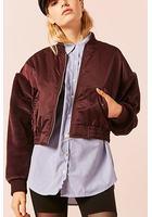 Faux Fur Sleeve Bomber Jacket