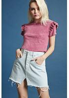 Asymmetrical-hem Denim Skirt