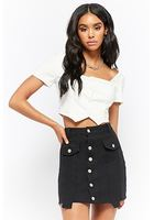 Denim Button-front Step-hem Mini Skirt