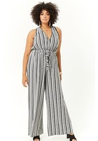 Plus Size Striped Surplice Jumpsuit