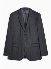 Navy Tailored Fit Pinstripe Single Breasted Blazer With Peak Lapels