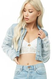 Tulle-overlay Cropped Denim Jacket