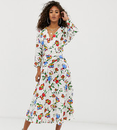 Vestido Midi Con Paneles Fruncidos Y Estampado Gráfico Floral De Asos Design Tall