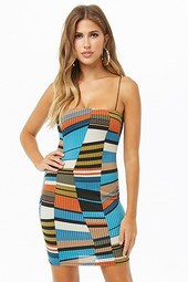 Ribbed Multicolor Geo Print Mini Dress