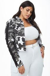 Plus Size Distressed Denim Camo Jacket