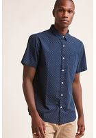 Polka Dot Short-sleeve Cotton Shirt