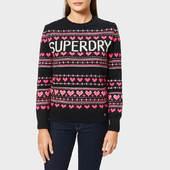 Superdry Women's Cleveland Fairisle Knit Jumper - Soft Navy - Uk 10 - Blue