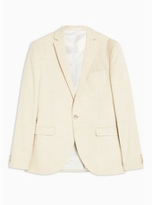 Stone Super Skinny Fit Single Breasted Blazer With Peak Lapels