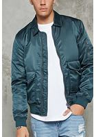 Collared Nylon Bomber Jacket