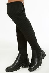 Over-the-knee Ribbed Knit Boots