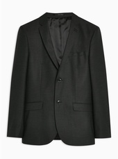 Grey Skinny Fit Single Breasted Blazer With Notch Lapels