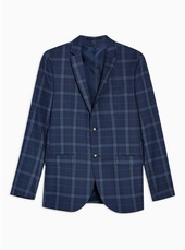 Blue Skinny Fit Check Single Breasted Blazer With Notch Lapels