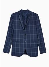 Blue Check Skinny Blazer