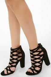 Caged Velvet Block Heels