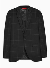 Black Slim Fit Topstitch Windowpane Check Single Breasted Blazer With Notch Lapels