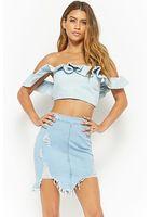 Distressed Sharkbite Denim Skirt