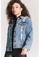 Studded Distressed Denim Jacket