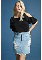 Asymmetrical-hem Denim Skirt