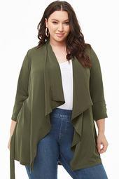 Plus Size Drape-front Blazer