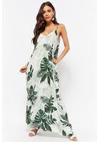 Crinkled Palm Leaf Print Maxi Dress
