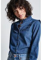 Frilled Denim Button-down Shirt
