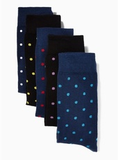 Navy And Black Polka Dot Socks 5 Pack