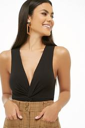 Ribbed Knit Twist-front Bodysuit