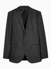 Black Skinny Fit Pinstripe Single Breasted Blazer With Notch Lapels
