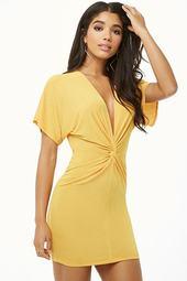 Twist-front Plunging Mini Dress