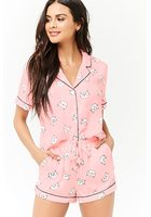 Satin Cat Graphic Pajama Shirt & Shorts Set