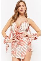 Striped & Leaf Print Open-shoulder Romper
