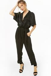 Cuban Collar Satin Jumpsuit