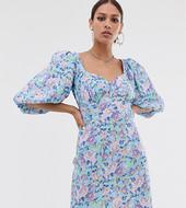 Vestido De Tarde Con Botones Y Mangas Abombadas Con Estampado De Flores De Reclaimed Vintage Inspired