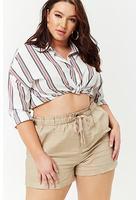 Plus Size Paperbag Waist Linen Shorts