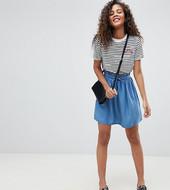 Falda Vaquera Con Cintura Paperbag Con Lavado Medio En Azul De Asos Design Tall