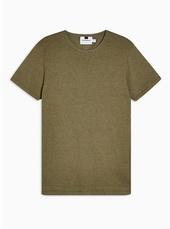 Khaki Smart Raw Hem Knitted T-shirt