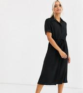 Vestido Camisero Con Cordón Ajustable En Negro De New Look Petite