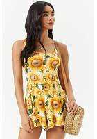 Cutout Sunflower Print Romper
