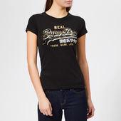 Superdry Women's Vintage Logo Star Sequin Entry T-shirt - Black - Uk 8 - Black