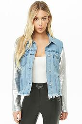 Sequin-sleeve Denim Jacket