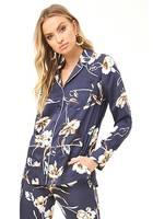 Satin Floral Patch Pocket Shirt