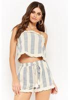 Striped Gauze Fringe Cami & Shorts Set