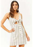 Striped Tie-front Mini Dress