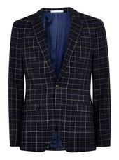 Navy Check Super Skinny Blazer