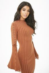 Ribbed Lace-up Mini Dress