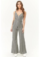 Zippered Striped Jumpsuit